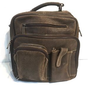 Claire Chase Jumbo Man Bag distressed leather EUC